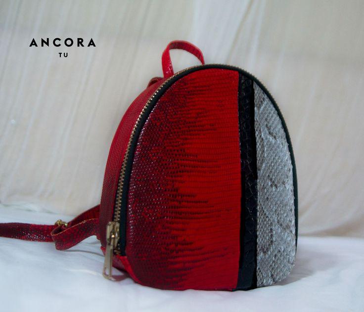 Genuine Leather Backpack. Lizard  leather Backpack. Designer handmade leather handbag.  Fashionable  Natural Leather Backpack. by StudioANTU on Etsy
