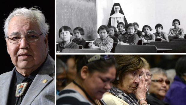 From left, clockwise: Justice Murray Sinclair, a residential school classroom, and residential schools survivors to Truth and Reconciliation recommendations on June 2, 2015.