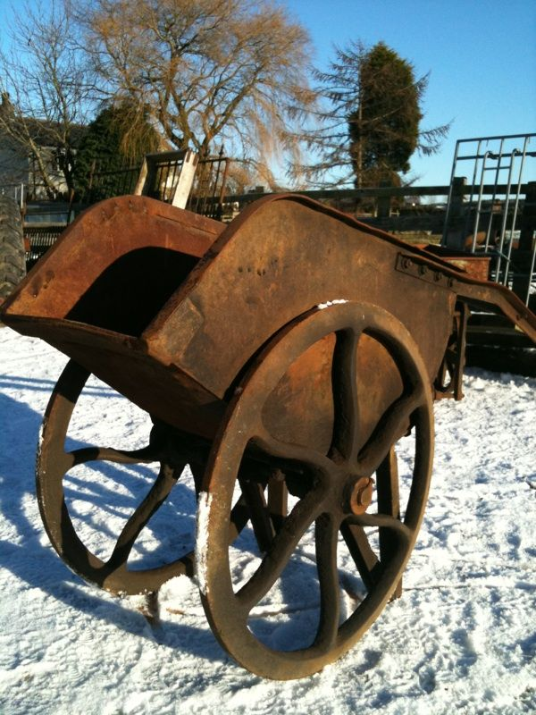 Rare 19thC metal barrow once used to move precious metals around the factory and one of only four trolleys used at Platts textile engineering works, Accrington, Lancs. The remaining three trolleys were each taken by the three directors when the company closed down. From Angell Antiques