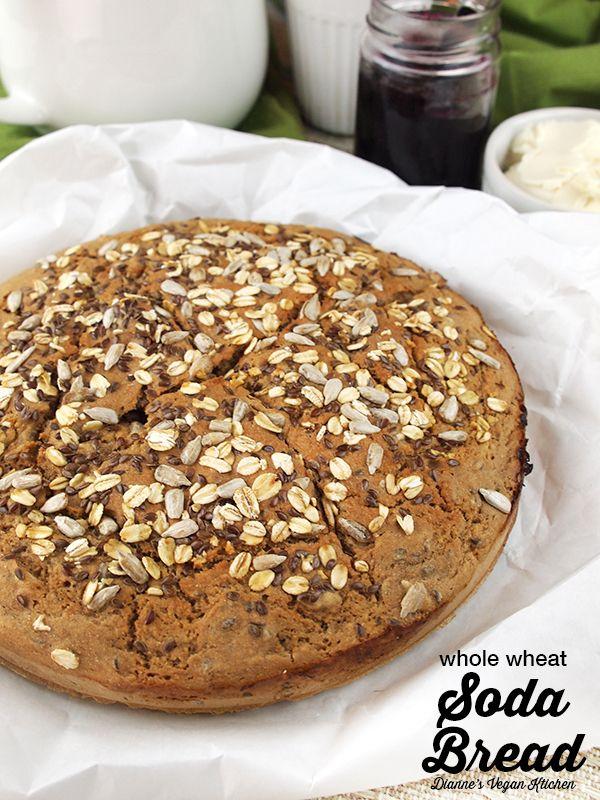 Vegan Whole Wheat Soda Bread for St. Patrick's Day >> Dianne's Vegan Kitchen