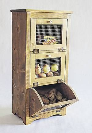 A practical, convenient and attractive way to help keep produce fresh longer, this build-it-yourself storage bin unit is a true country classic. The project features wire mesh on the front of each bin, which allows air to circulate freely and creates a cool, dry environment that apples, potatoes and onions love.