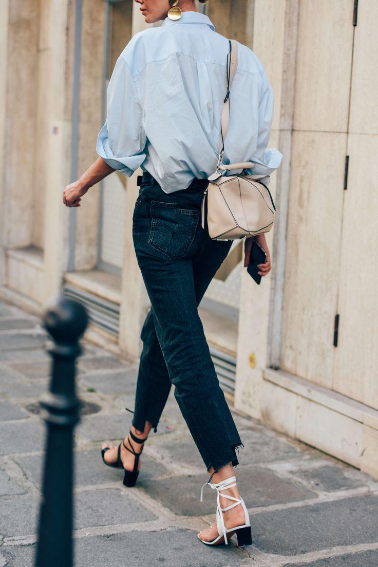 Blue shirt, black jeans, Loewe bag & Céline sandals   @styleminimalism