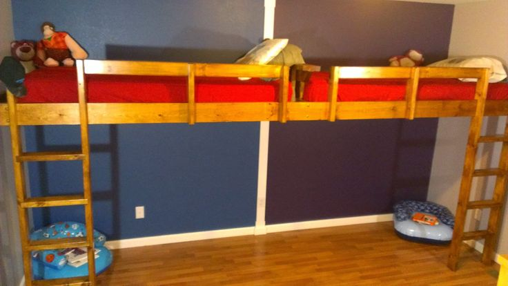 I built this double loft bed with 2 twin mattresses for my two young boys ages 9 and 11. We wanted to elevate the bed higher than a traditional top bunk of a...