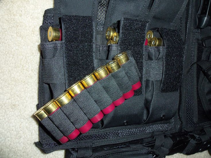 Shotgun Shell Strips - Cut a bandolier into sections of 8. Melt ends closed with a lighter. These strips will fit into AR magazine pouches on a vest or chest rig that holds other high-capacity magazines.