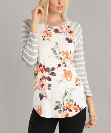 Loving this White & Gray Floral Stripe-Sleeve Raglan Top on #zulily! #zulilyfinds