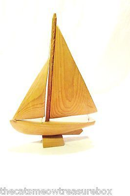 "Wooden Sailboat Handcarved Signed St Jean Port Joli Canada 8"" Nautical Decor"