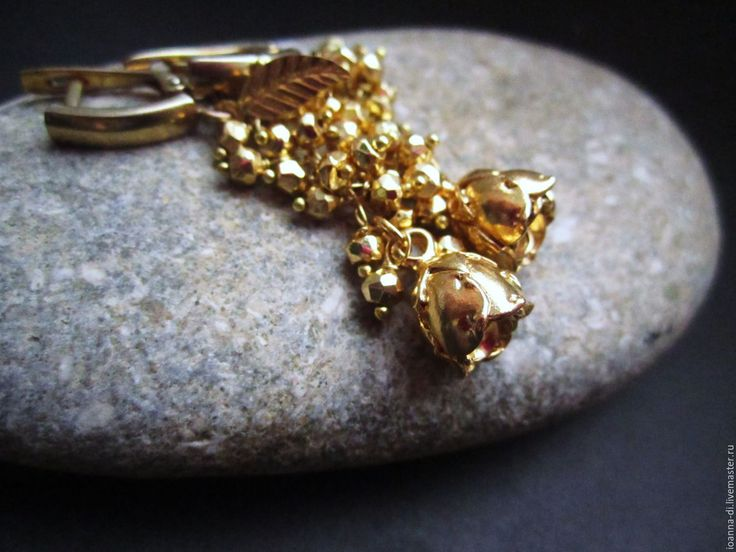 """Купить Серьги """"Долина роз"""" - золотой, золотые розы, серебряные розы, серебряные украшения"""