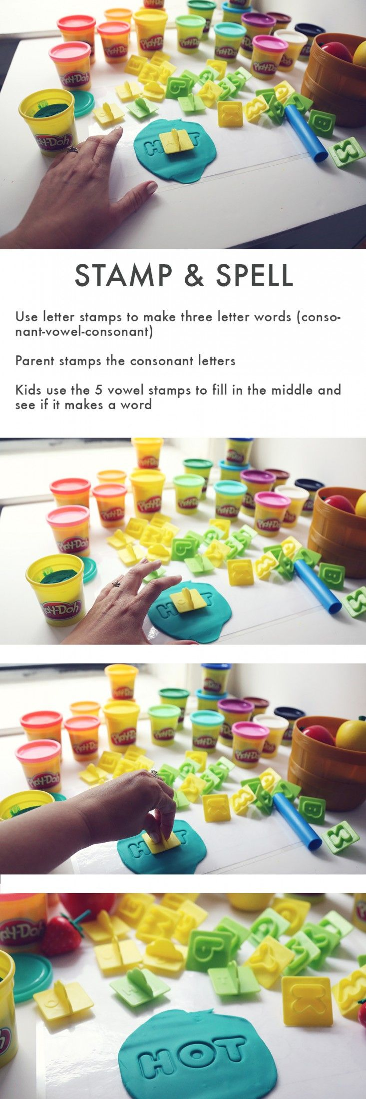 Best 25 three letter words ideas on pinterest 3 letter words stamp and spell how to use letter stamps to make three letter words parent stamps the consonant letters kids use the 5 vowel stamps to fill aljukfo Images