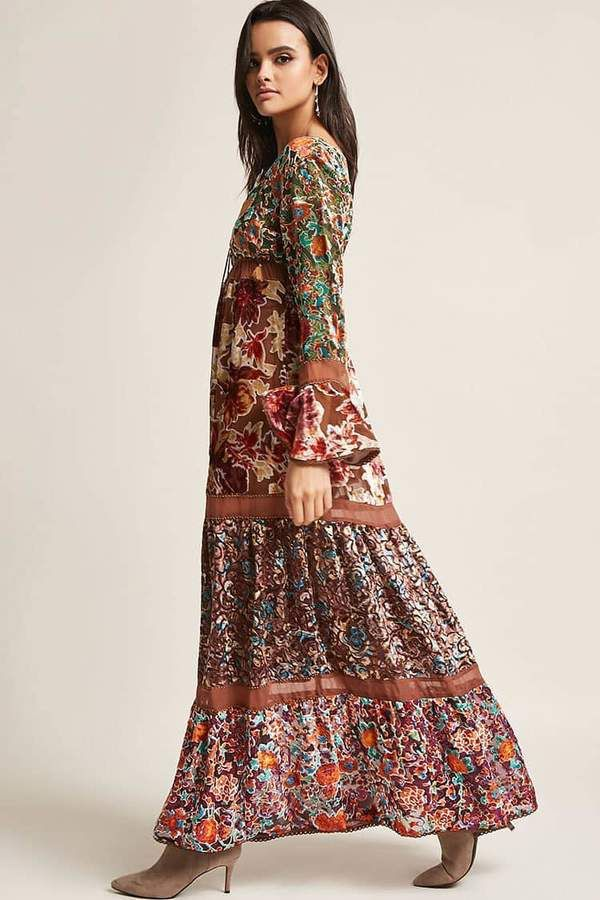 56df1408260 Z L Europe Burnout Velvet Floral Maxi Dress. I just like the bohemian flow.   fashion  boho  dresses  commissionlink