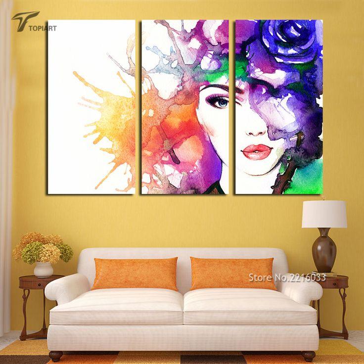 3 Panel Decor Art Abstracte Schoonheid Canvas Print Aquarel meisje Gezicht Pop Art Schilderij Foto Voor Slaapkamer Kantoor Geen Frame