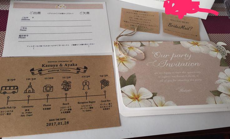 【手作りアイテムを少しずつ…】招待状&タイムライン♡ブライズメイドとリングガールにはお願いのメッセージカードを添えました😋 #結婚式