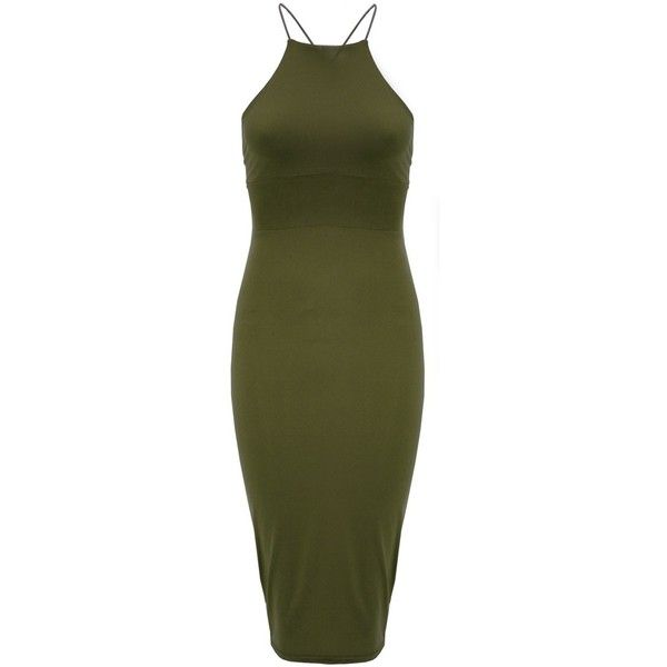 Jade Dress in Olive ($58) ❤ liked on Polyvore featuring dresses, holiday cocktail dresses, bodycon cocktail dress, formal cocktail dresses, olive green dress and evening dresses