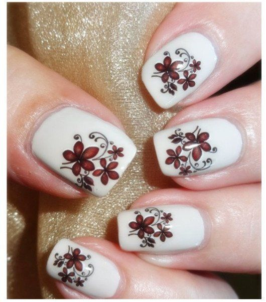 Flowers Designs Nail Art Water Transfer Stickers