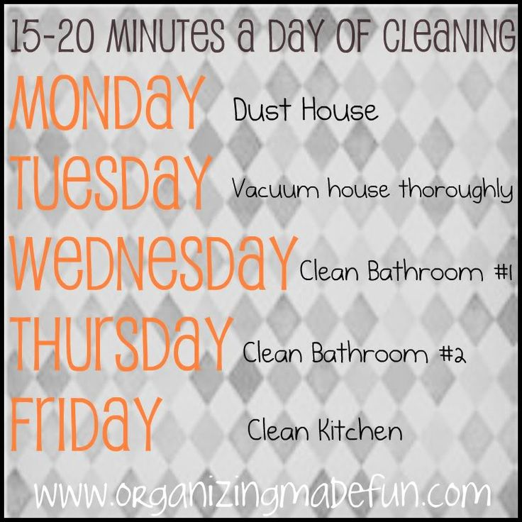 Great advice on how to only spend 15 mins a day cleaning: Week Clean Schedule, Houses, Organizations Schedule, Minute Clean, Cleaning, Clean Lists, 15 Minute, Free Printable, Daily Clean