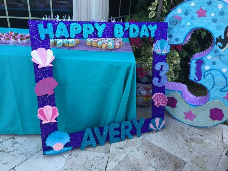 Mermaid party under the sea birthday 3rd birthday decorations little mermaid pinata birthday frame