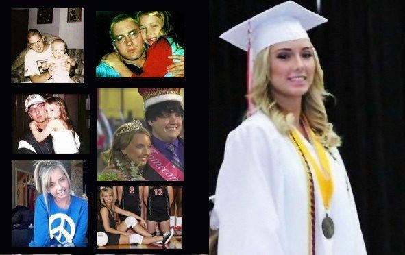 Eminem and his daughter, Hailie Jade Mathers. On the right is Hailie Mathers graduating from college