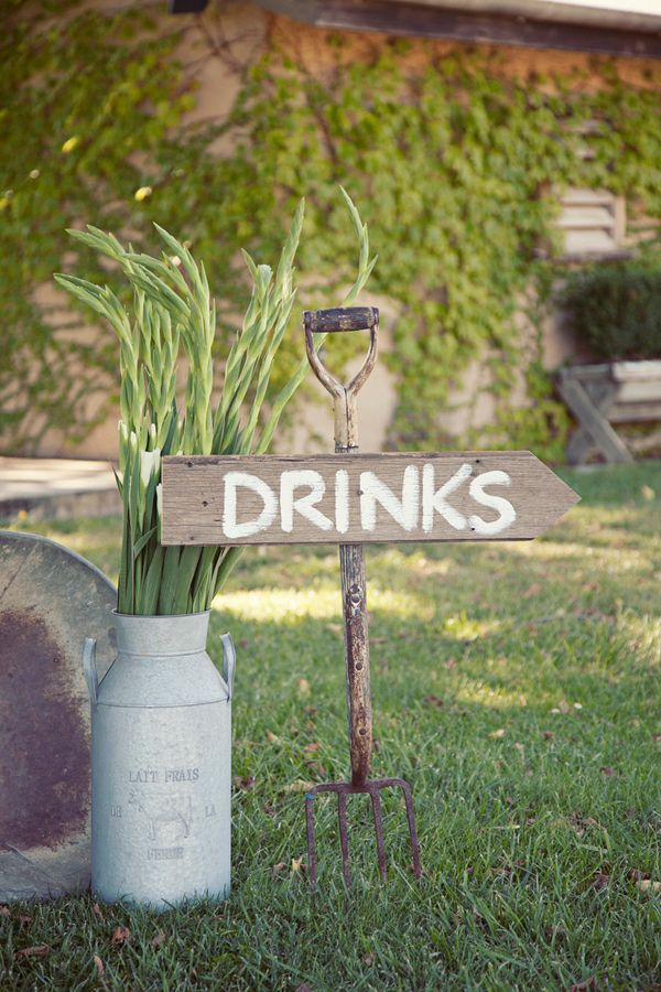 rustic drinks sign // photo by Kirralee Wedding Photographer, view more: http://ruffledblog.com/handcrafted-yarra-valley-wedding/