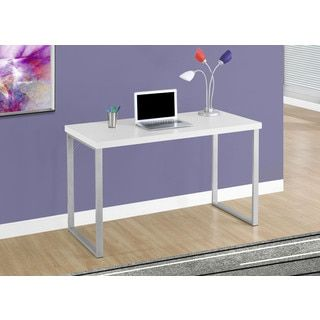 """Shop for Computer Desk-48""""L/White/Silver Metal. Get free shipping at Overstock.com - Your Online Furniture Outlet Store! Get 5% in rewards with Club O!"""