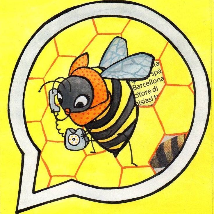 Giulia Maidecchi* Bee + WhatsApp = Whazzzape * AppAnimals series: the appllication animals at the SmarZoo Exhibition! The smart bee is trappede inside the WhatsApp logo and she looks for pollen by phone. * Lo Smart Zoo, App Animali in mostra: la Whazzzape! L'ape è intrappolata nel logo di WhatsApp e raccoglie il polline per telefono.