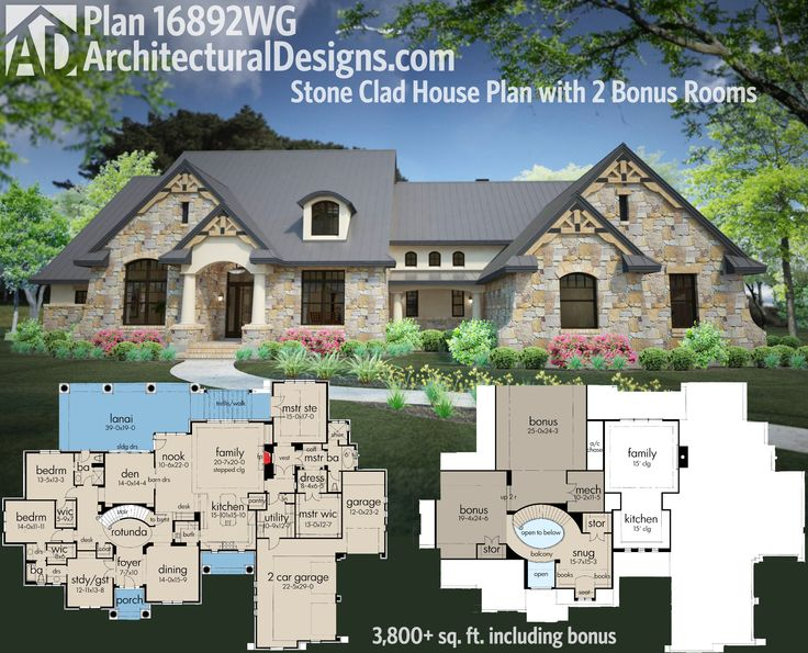 Architectural Designs Stone Clad House Plan 16892WG gives you not one but two bonus rooms. Including those, you get over 3,800 sq. ft. of living space and 3 to 4 bedrooms. Ready when you are. Where do YOU want to build?