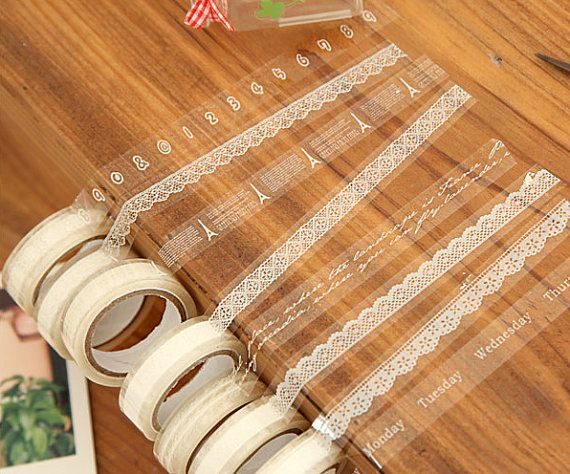 Clear Tape Transparent Deco Tape Kawaii Deco Tape White Lace Tape (1 pc BY RANDOM) Scrapbooking Card Gift Packaging Wedding Home Decor WR02