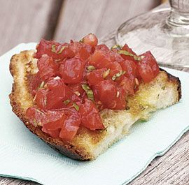 Bruschetta Topping: Fresh Mozzarella with Tomato & Basil   http://www.finecooking.com/recipes/mozzarella_tomato_bruschetta_topping.aspx