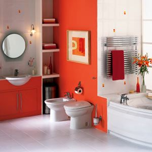 Orange accent walls - use orange right, and it can work! (don't know about the double toilets though!)