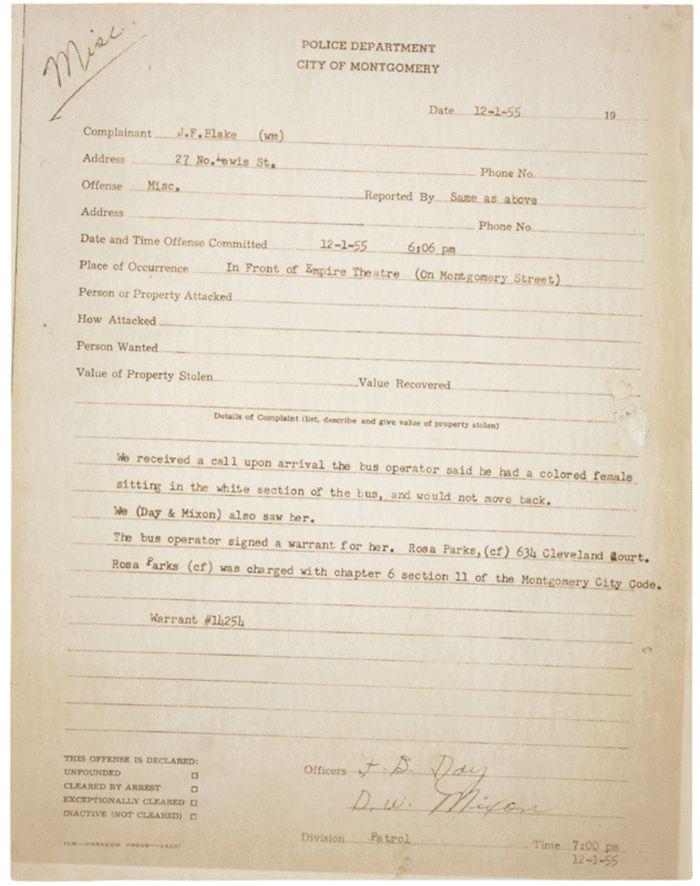 Document Deep Dive: Rosa Parks' Arrest Records | History & Archaeology | Smithsonian Magazine