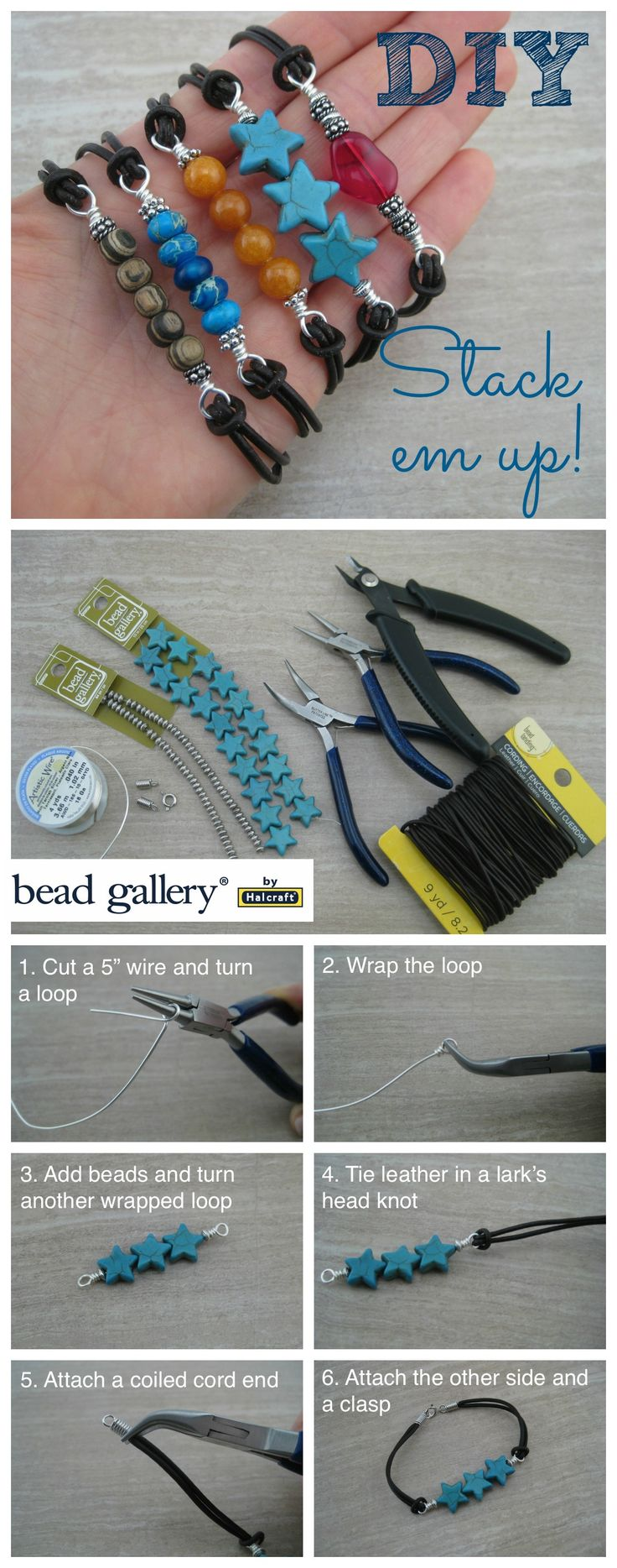 Create multiples of these easy DIY bracelets to wear in a stack!
