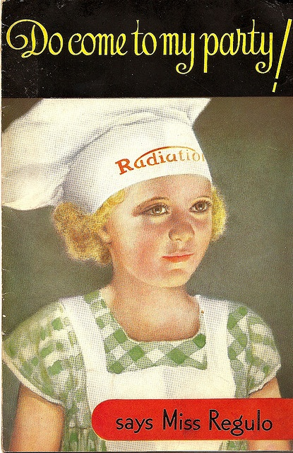 """Do come to my party! - says Miss Regulo"" - recipe book cover, c1935 by mikeyashworth, via Flickr"