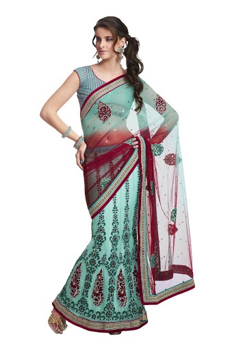 Party Wear Sea Green & Red Colored Net & Satin Saree With Unstitched Blouse Fabric: Net & Satin 5799 INR