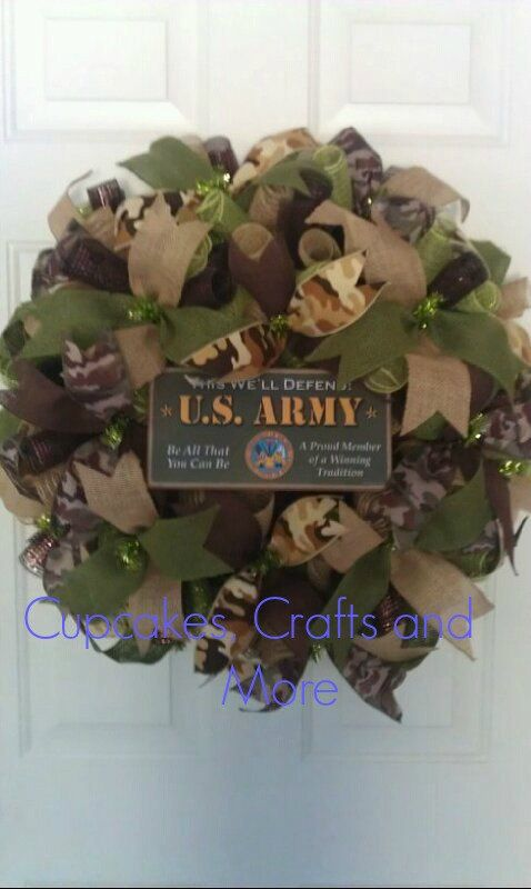 U.S. Army Wreath Army Wreath Camo Army Wreath by CupcakesCraftyMom, $50.00