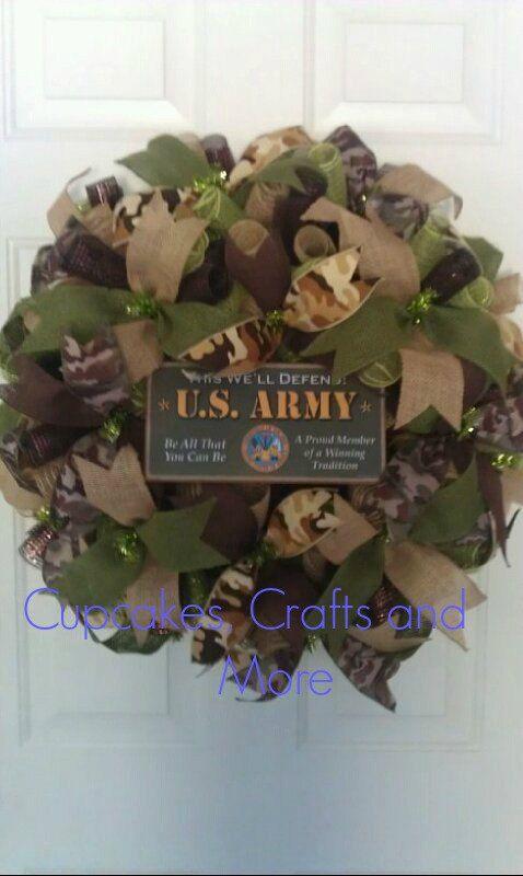 U.S. Army Wreath Army Wreath Camo Army Wreath by CupcakesCraftyMom, $50.00