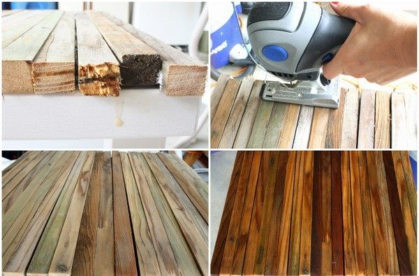 7.Sanding the wood with an electric hand sander and then gave it two coats of Semi-Gloss Sealer.