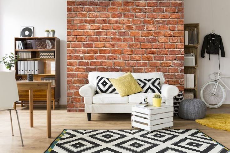 Brick effect wallpaper will create the look of an expensive brick feature wall.