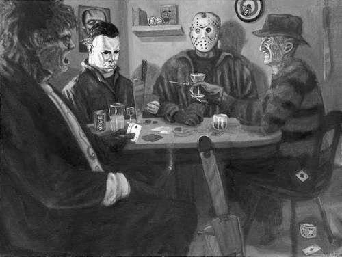 Freddy Krueger, Jason Voorhees, Michael Meyers, and Leatherface playing poker.