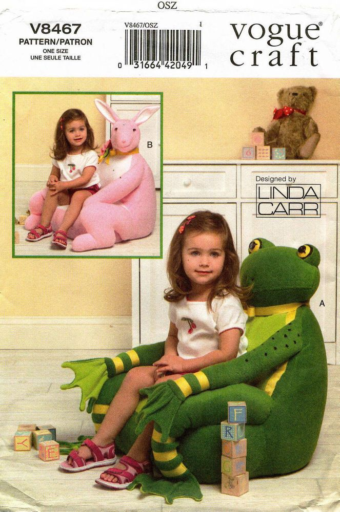 """VOGUE  Kids' Animal Chairs by Linda Carr Pattern V8467 Size 21"""", 23"""""""