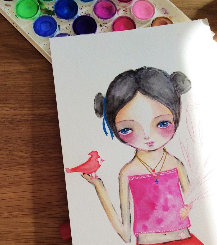 On my #studio table #wip  .  .  #watercolor #studioscenes #onmytable #drawing #drawingoftheday #paintinginprogress #illustration #illustrationart #doodle #colorfulart #girlygirl #sweetarts #pink #natureinspired #susanatavares #birdlover #creativelife