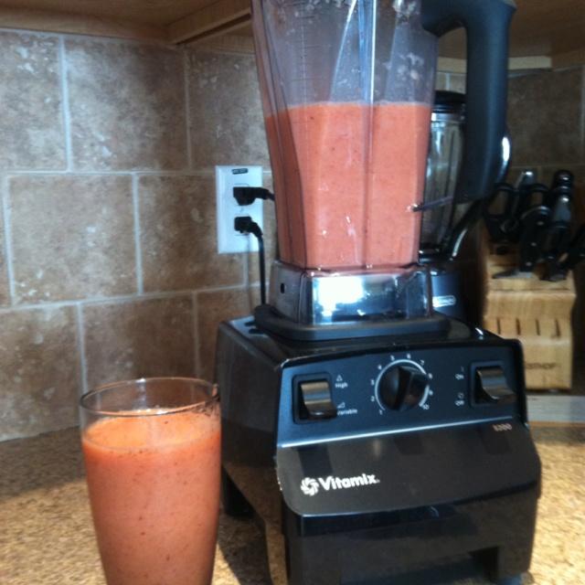 Vitamix Smoothie: orange, cored apple, strawberries, pineapple, ice