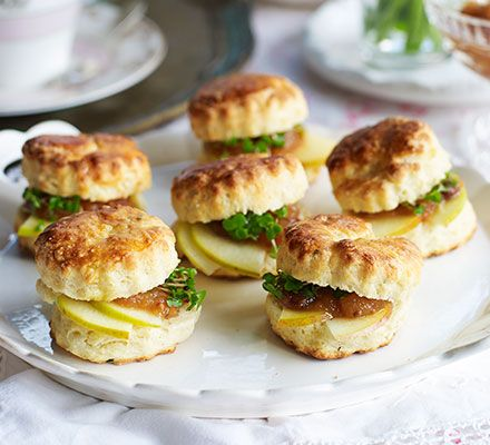Ploughman's scones. These savoury cheese scones, filled with thin slices of apple and chutney, make a delicious addition to an afternoon tea spread