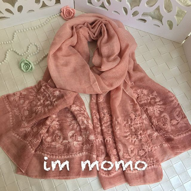 [Marte&Joven] New Vintga Floral Embroidery Scarf and Wrap for Women Ethnic Style 200*95 cm Oversized Casual Beach Flower Shawl