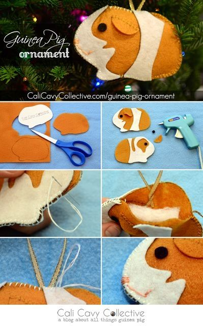 DIY guinea pig ornament tutorial. Craft your own pigs out of felt! by pearl808