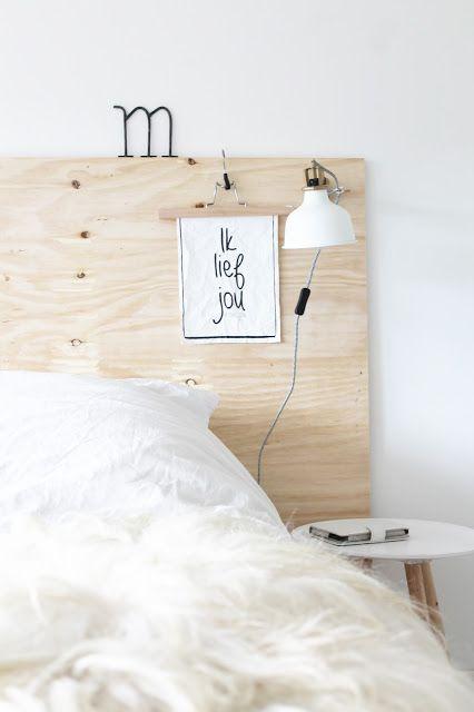 I really like the idea of a plywood headboard ♡