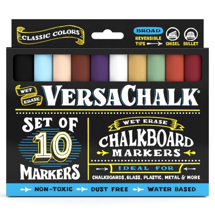 Amazon.com: Chalkboard Chalk Markers by VersaChalk - Classic Colors (10-Pack)   Dust Free, Water-Based, Non-Toxic   Wet Erase Chalk Ink Pens: Arts, Crafts & Sewing   @giftryapp