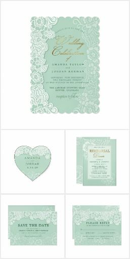 Floral Lace Mint Green Wedding