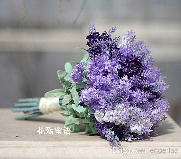 Light Purple Artificial Hand Made Flower Wedding Bridal Bouquet Simulation Provence Lavender Bride Bouquet Wedding Flowers 2014 Best SellZC from Engerlaa,$26.18 | DHgate.com