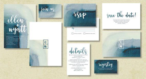 WATERCOLOR Wedding Invitation Set Save the date RSVP by INVITALIA