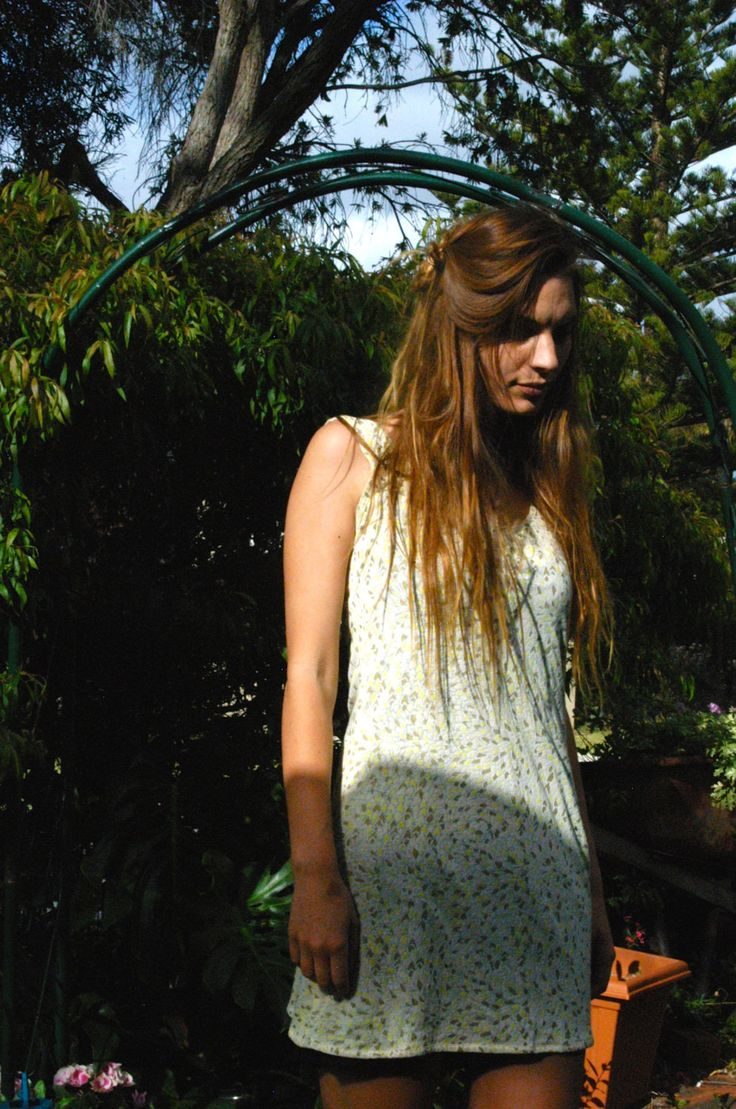Slip Dress - Pretty Summer Shift in Yellow, Grey and White:  Great for trans-seasonal travel by TheBusyTipsyGipsy on Etsy