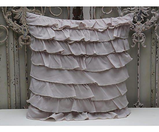 Подушка с оборками - хлопок - серый