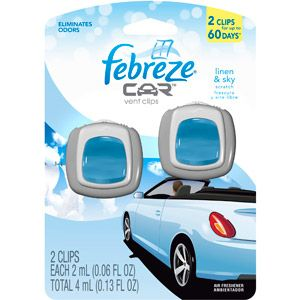 Febreze Car Vent Clips Linen & Sky Air Freshener (2 Count; 2 mL each)